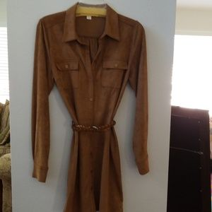 Boston Proper Faux Suede Camel Tan Shirt Dress S